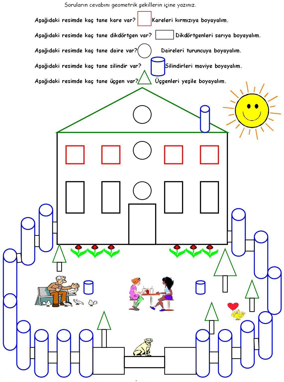 4 Sinif Matematik Dersi Geometrik şekiller Boyama ödev Sayfam