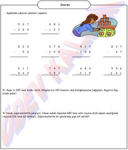 3. Sinif Matematik Dersi Cikarma islemler