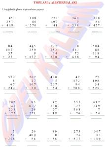 3. Sinif Matematik Dersi Toplama Alistirmalari