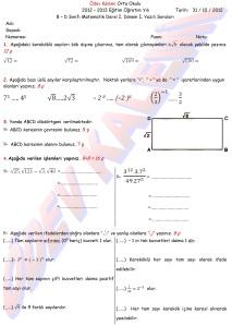 8. Sinif Matematik Dersi 1. Donem 1.Yazili Sorulari - 01