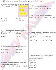 8. Sinif Matematik Dersi 1. Donem 1.Yazili Sorulari - 02