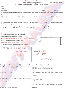 8. Sinif Matematik Dersi 1. Donem 1.Yazili Sorulari Cevap Kagidi - 01