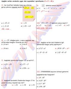 8. Sinif Matematik Dersi 1. Donem 1.Yazili Sorulari Cevap Kagidi - 02