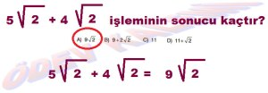 8. Sinif Matematik Dersi Karekoklu Sayilarda Toplama ve Cikarma Cozumlu Problemler - 02