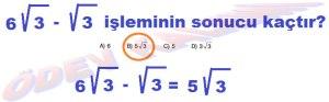 8. Sinif Matematik Dersi Karekoklu Sayilarda Toplama ve Cikarma Cozumlu Problemler - 03