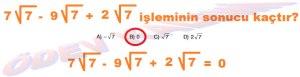 8. Sinif Matematik Dersi Karekoklu Sayilarda Toplama ve Cikarma Cozumlu Problemler - 07