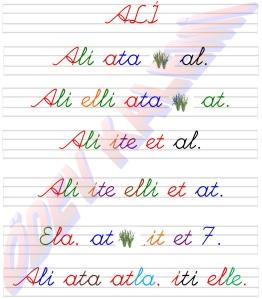 Ali Metni 2. Grup Sesler Harfler 1. Sinif Okuma Yazma Etkinlikleri
