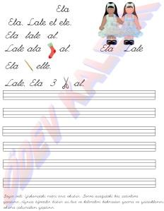 Ela, Lale el ele. 1. Grup Harfler 1. Sinif Okuma Yazma Etkinlikleri