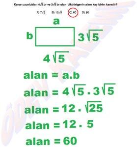 8. Sinif Matematik Dersi Cozumlu Karekoklu Problemler - 03