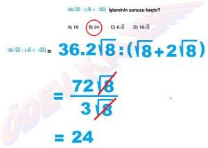 8. Sinif Matematik Dersi Cozumlu Karekoklu Problemler - 04