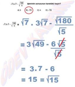 8. Sinif Matematik Dersi Cozumlu Karekoklu Problemler - 06