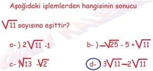 8. Sinif Matematik Dersi Karekoklu Sayilarda Cozumlu Toplama ve Cikarma Problemleri - 03