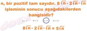 8. Sinif Matematik Dersi Karekoklu Sayilarda Cozumlu Toplama ve Cikarma Problemleri - 04