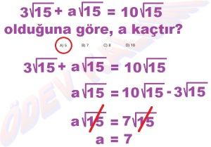 8. Sinif Matematik Dersi Karekoklu Sayilarda Cozumlu Toplama ve Cikarma Problemleri - 06