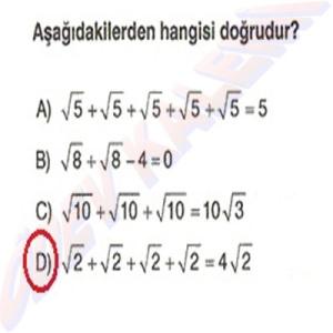 8. Sinif Matematik Dersi Karekoklu Sayilarda Cozumlu Toplama ve Cikarma Problemleri - 09