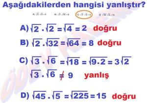 8. Sinif Matematik Dersi Karekoklu Sayilarla Carpma ve Bolme islemleri Cozumlu Problemler - 03