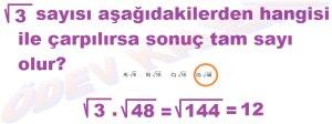 8. Sinif Matematik Dersi Karekoklu Sayilarla Carpma ve Bolme islemleri Cozumlu Problemler - 04