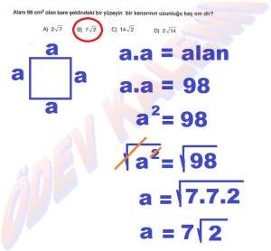 8. Sinif Matematik Dersi Karekoklu Sayilarla Carpma ve Bolme islemleri Cozumlu Problemler - 07
