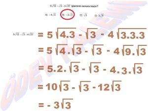 8. Sinif Matematik Dersi Karekoklu Sayilarla Carpma ve Bolme islemleri Cozumlu Problemler - 09