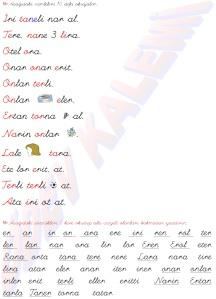 Okuma Metni elat - inor 2. grup Sesler 1. Sinif Turkce Dersi Okuma Yazma Etkinlikleri