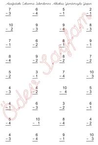 1. Sinif Matematik Dersi eksileni en cok 10 Olan Cikarma islemleri - 01
