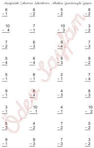 1. Sinif Matematik Dersi eksileni en cok 10 Olan Cikarma islemleri