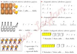 cikarma islemini ogreniyorum sekillerle cikarma islemleri 1. Sinif Matematik Dersi - 01a