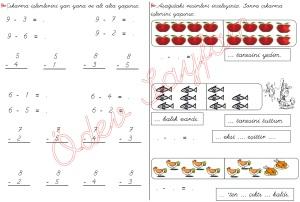 cikarma islemini ogreniyorum sekillerle cikarma islemleri 1. Sinif Matematik Dersi - 02a