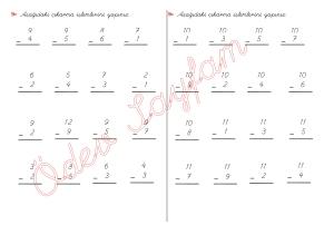 cikarma islemini ogreniyorum sekillerle cikarma islemleri 1. Sinif Matematik Dersi - 03a