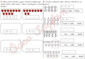 cikarma islemini ogreniyorum sekillerle cikarma islemleri 1. Sinif Matematik Dersi - 04 - 01