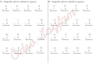 cikarma islemini ogreniyorum sekillerle cikarma islemleri 1. Sinif Matematik Dersi - 04 - 02