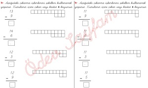 cikarma islemini ogreniyorum sekillerle cikarma islemleri 1. Sinif Matematik Dersi - 07 - 02