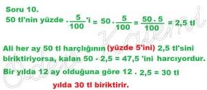5. Sinif Matematik Dersi Cozumlu Yuzde Problemleri - 10