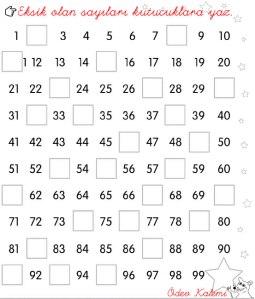 1. sinif Matematik Dersi 100'e kadar birerli ritmik sayama eksik olan sayilari tamamla