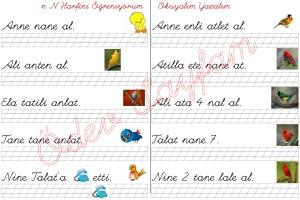 n sesini ogreniyorum okuma ve yazma calismasi 2. Grup harfler 1. Sinif Turkce Dersi  - 05