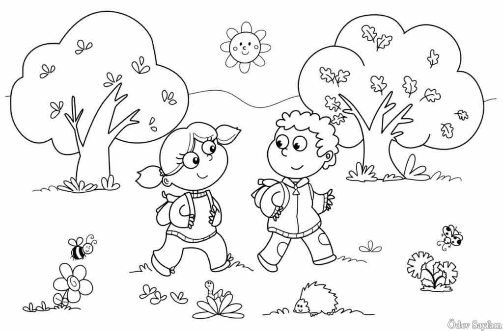 1 Sinif Görsel Sanatlar Dersi Boyama çalışmaları ödev Sayfam