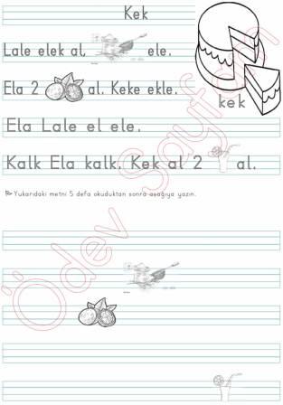 Kek Okuma Yazma Metni Dik Temel Harfler 1 Grup 1 Sinif Okuma Yazma
