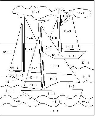 Yelkenli Cikarma Işlemleri Boyama çalişmasi 1sinif Matematik Dersi