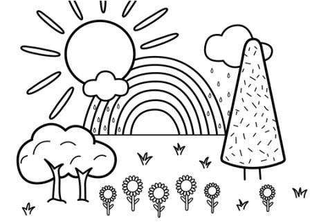 Doğa Manzara Boyama Renkli Kalem 1 Sinif Görsel Sanatlar Dersi